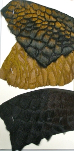 leather swatches reversing to furry reptile