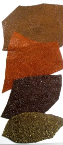 leather swatches, new crunchy and metallic finishes